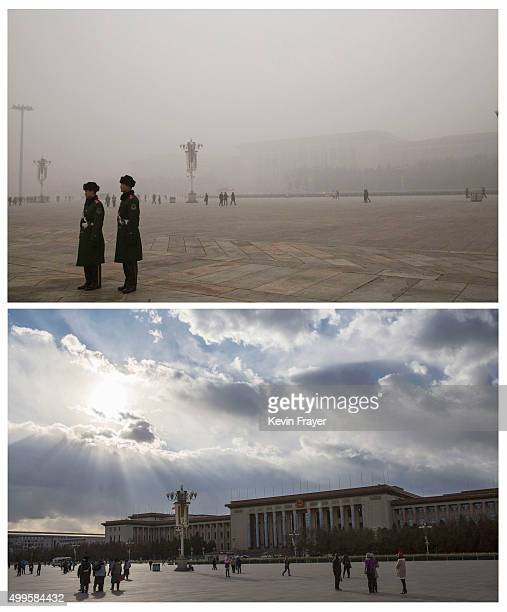 In this composite of two separate images Chinese Paramilitary officers stand Tiananmen Square and the Great Hall of the People is seen in heavy...