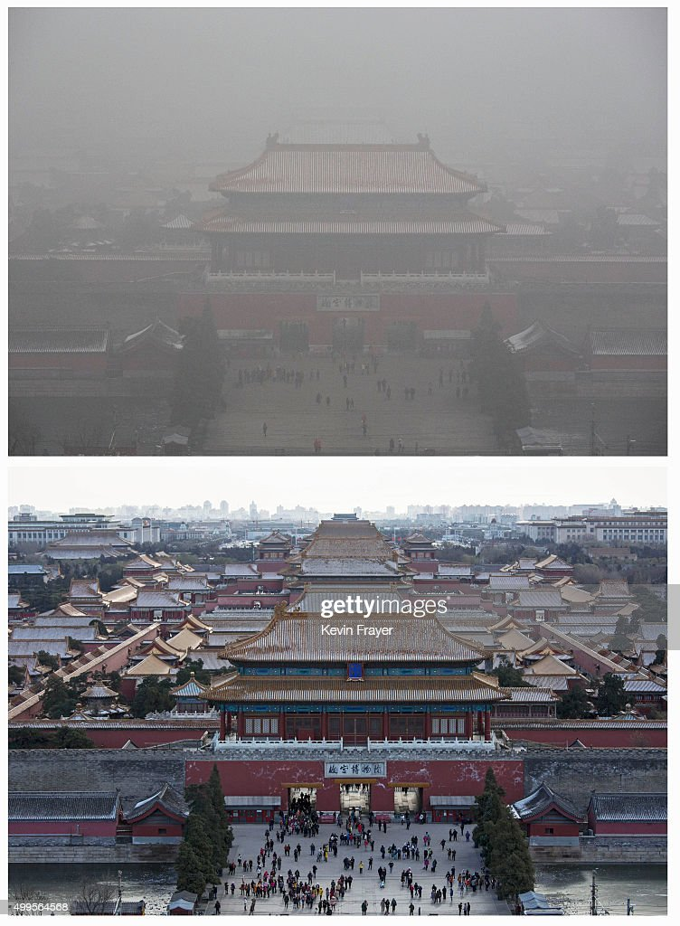 In this composite of two separate images the Forbidden City is seen in heavy pollution top on December 1 and 24 hours later under a clear sky on...