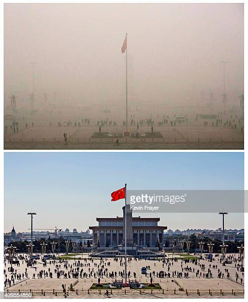 In this composite of two separate images Tiananmen Square is seen in heavy pollution top on December 1 and 24 hours later under a clear sky on...