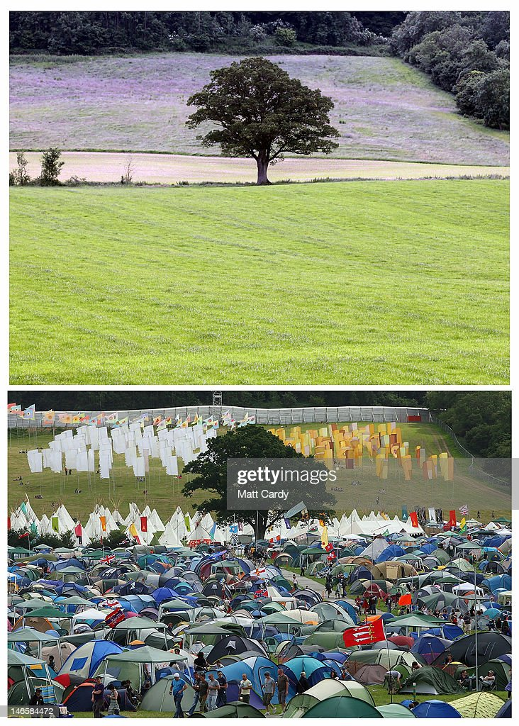 In this composite one of the camping fields at the Glastonbury Festival site at Worthy Farm, Pilton is seen in the top image in contrast with the same view taken during the Festival in 2011 on June 20, 2012 near Glastonbury, England. Today would have been the day that the gates would have opened for what has become Europe's biggest music festival, but because of the London 2012 Olympics it was decided by the organisers to take this year off. However, this week it was announced that the festival - which started in 1970 when several hundred festival-goers paid 1 GBP to watch Marc Bolan and has now attracts more than 175,000 people over five days - will feature in a mosh-pit style tribute in the opening ceremony of the London 2012 Olympic Games. The Festival will return in June 2013.