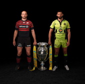 In this composite photo illustration Steve Borthwick of Saracens and Tom Wood of Northampton Saints pose with the Aviva Premiership Trophy Saracens...