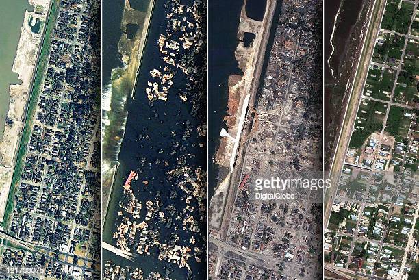 COMPOSITE IMAGE In this composite satellite image The Lower 9th Ward is seen January 7 2003 prior to hurricane Katrina August 31 2005 upon the levee...