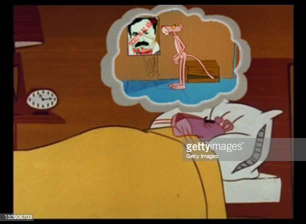 In this computer screen shot a Pink Panther figure dreams of himself standing next to a portrait showing murdered Turkish businessman Enver S in a...