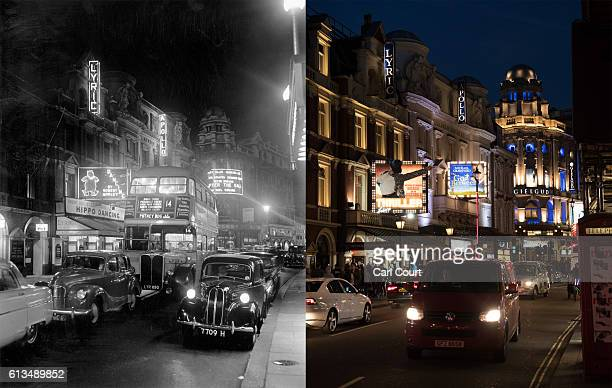 In this digital composite image a comparison has been made between the left picture showing vehicles travelling down Shaftesbury Avenue in front of...