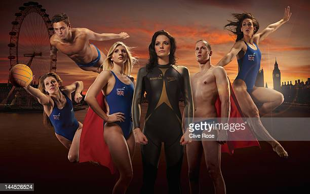 In this digital composite image made availalble May 15 2012 Water Polo Player Fran Leighton Diver Tom Daley Swimmer Rebecca Adlington Open Water...