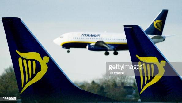 In this file photo a Ryanair jet lands at Stansted airport February 4 2003 in London Ryanair a lowbudget airline announced August 5 2003 a net profit...