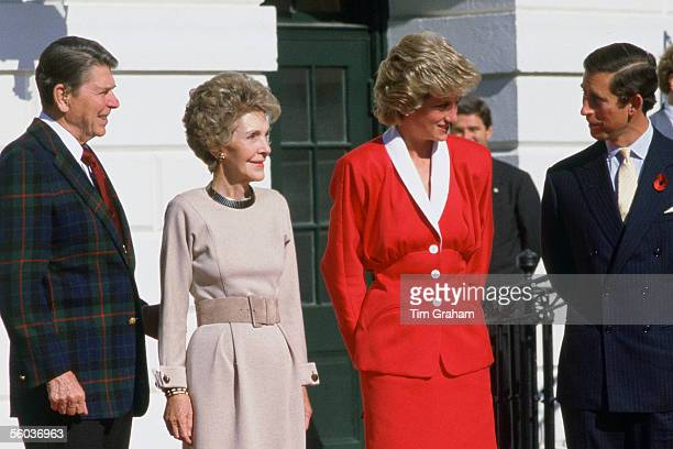 In this file photo issued October 31 Prince Charles the Prince of Wales and Princess Diana the Princess of Wales meet President Ronald Reagan and...