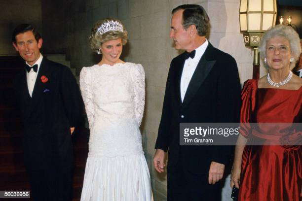 In this file photo issued on October 31 Prince Charles the Prince of Wales and Princess Diana the Princess of Wales meet VicePresident George Bush...