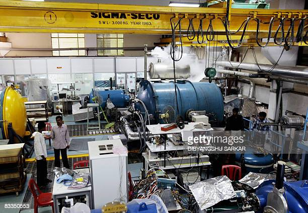 In this file photo taken on September 18 2008 scientists at the Indian Space Research Organisation work in the control room of the Thermo Vaccuum...
