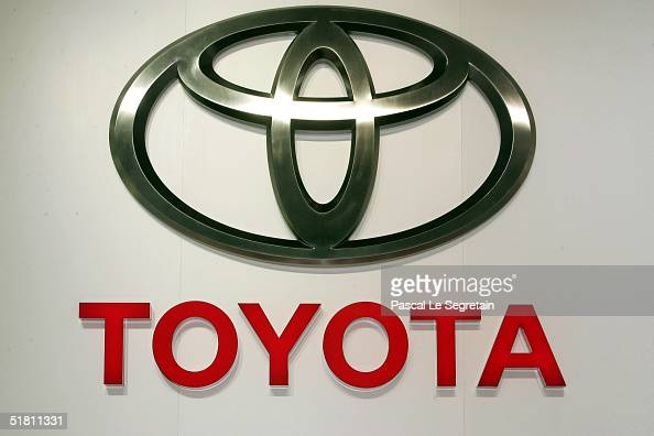 In this file photo the corporate logo of the Toyota car company is seen at the annual motor show September 23 2004 in Paris France Toyota Motor Corp...