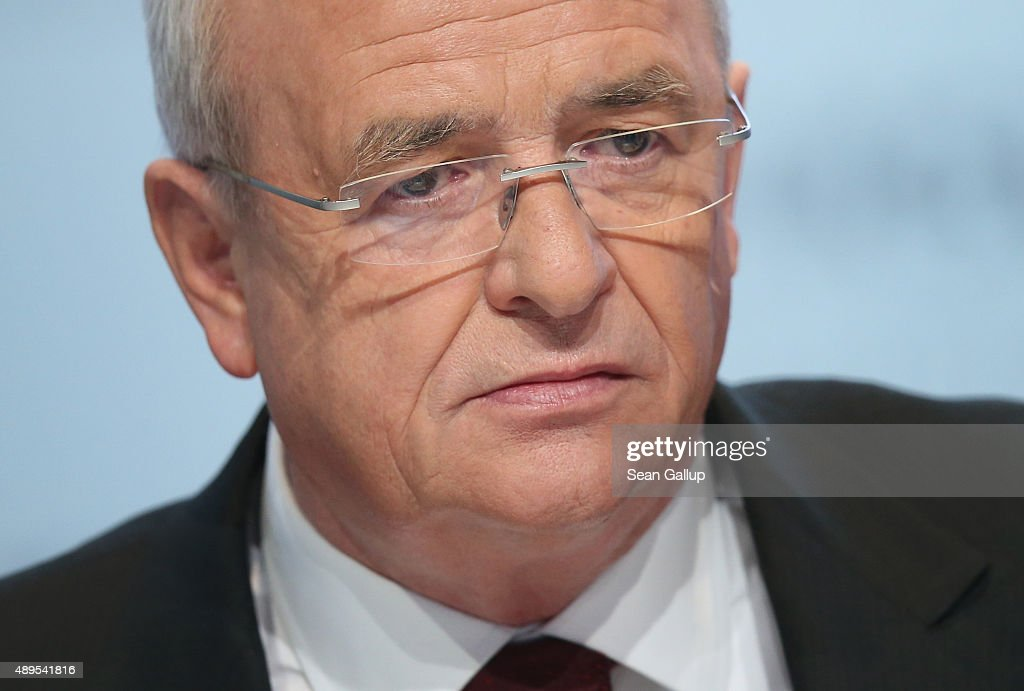 In this file photo Volkswagen CEO <a gi-track='captionPersonalityLinkClicked' href=/galleries/search?phrase=Martin+Winterkorn&family=editorial&specificpeople=840091 ng-click='$event.stopPropagation()'>Martin Winterkorn</a> attends the company's annual press conference on March 13, 2014 in Wolfsburg, Germany. Winterkorn announced on September 22, 2015 that he will not step down following the diesel emissions scandal that Volkswagen has admitted could affect up to 11 million VW cars.
