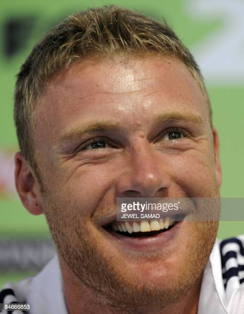 In this file photograph taken on october 29 2008 England's cricketer Andrew Flintoff smiles as he answers a question during a press conference ahead...