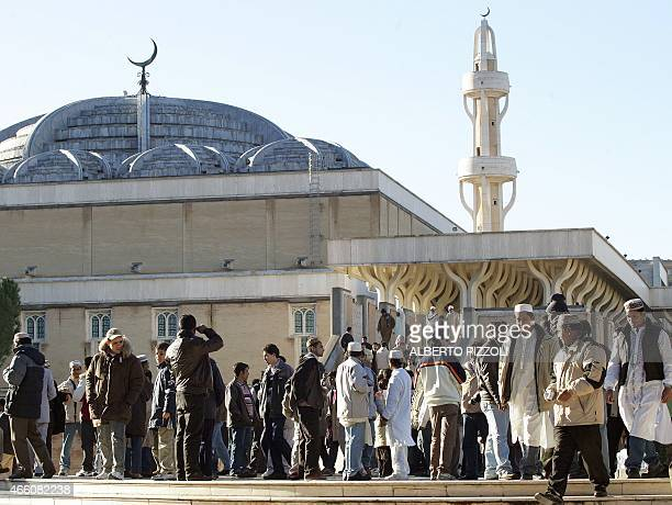 In this file picture members of the Muslim community in Italy leave Rome's mosque on Januray 20 2005 after prayer on the first day of Eid AlAdha the...
