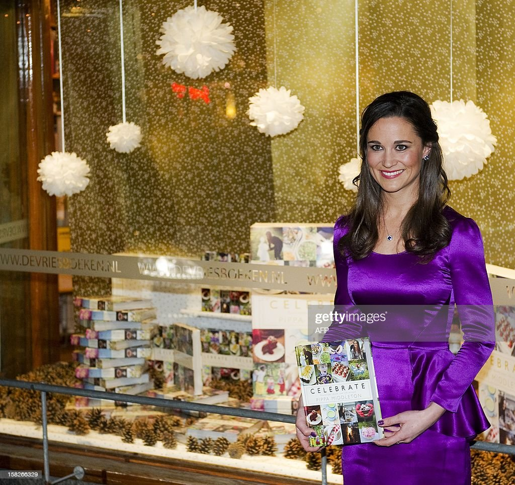 In this file picture taken on December 11, 2012 Pippa Middleton, the younger sister of Prince William's wife Kate promotes the Dutch edition of her book 'Celebrate: A Year of British Festivities for Families and Friends' in a bookstore in Haarlem. Pippa Middleton, the younger sister of Prince William's wife Kate, spoke out on December 12, 2012 in defence of her book on party planning after critics accused her of offering 'glaringly obvious' advice. Middleton, 29, reportedly secured an advance worth £400,000 ($650,000, 500,000 euros) for the book from publishers keen to cash in on her fame following last year's royal wedding, but its release in October was met with derision.Kate Middleton's younger sister Pippa describes her stardom -- and the attention paid to her behind -- after last year's royal wedding as 'startling', in a book to be released in October. AFP PHOTO / ANP / KIPPA ROBIN VAN LONKHUIJSEN netherlands out -