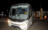 In this file picture taken on January 10 2010 the coach carrying the Togo national football team leaves for the airport from the Olympic Village in...