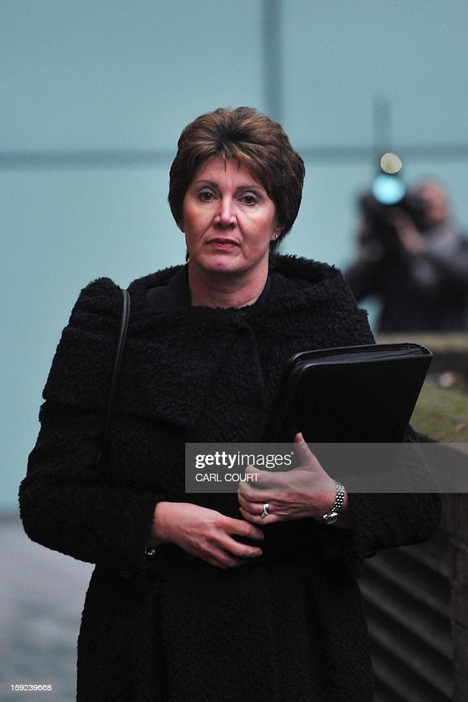 In this file picture taken on January 7, 2013 Detective April Casburn arrives at Southwark Crown Court in central London, to face charges related to misconduct in a public office over claims she passed information to the News of the World, the now-defunct tabloid. A former British counter-terrorism detective was found guilty on January 10, 2013 of trying to sell information about a phone hacking investigation to the Rupert Murdoch-owned News of the World tabloid. A jury convicted Detective Chief Inspector April Casburn of offering the now-defunct newspaper information about a probe into whether Scotland Yard's inquiry into the illegal hacking of mobile phones should be reopened.