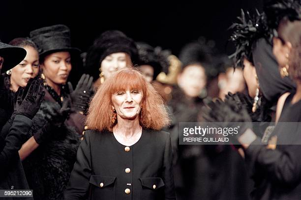 In this file picture taken on March 14 1993 shows Sonia Rykiel applauded by her models at the 199394 autumn/winter collection in Paris Sonia Rykiel...