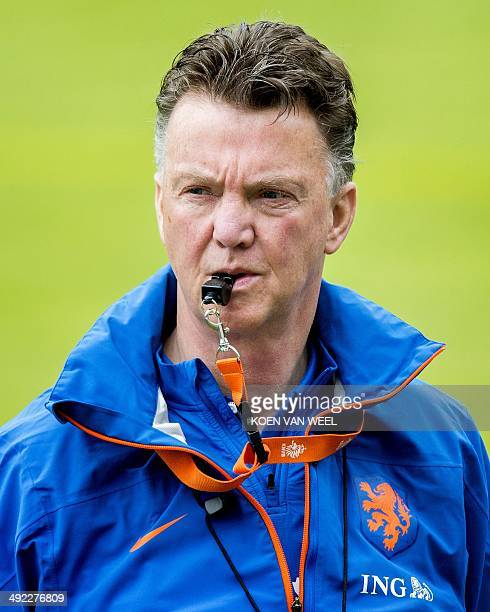 In this file picture taken on May 15 2014 Dutch national football team coach Louis van Gaal trains the Dutch national football team in Hoenderloo The...