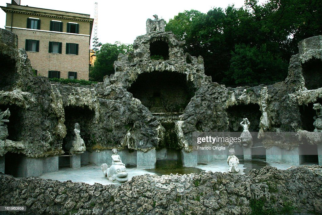In this file picture taken on May 30, 2009 a view of Fonatana Dello Scoglio (Fountain of the Cliff) in front of the convent of Mater Ecclesiae, the new residence of Pope Benedict XVI after his retirement, in Vatican City, Vatican.