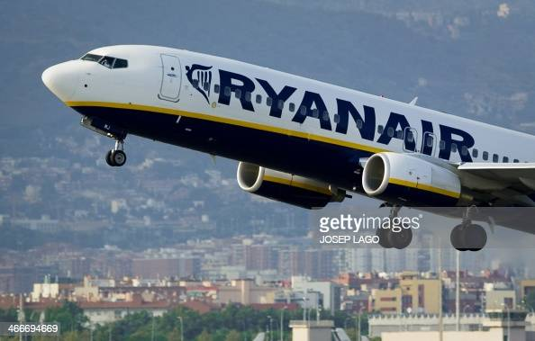 In this file picture taken on September 1 2010 an airplane of the Irish lowcost airline Ryanair takes off from Barcelona's airport Low cost Irish...
