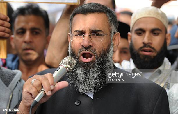 In this file picture taken on September 14 2012 Muslim cleric Anjem Choudary speaks to a group of demonstrators protesting against a film apparently...