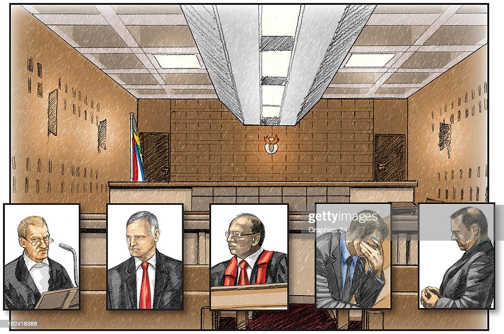 In this graphic illustration a representation is given of the primary players, (L-R) state prosecutor Gerrie Nel, defense attornery Barry Roux, magistrate Desmond Nair, defendant Oscar Pistorius, and investigator warrant officer Hilton Botha, involved in the bail hearings of Oscar Pistorius in Court C at Pretoria magistrates court. Pistorius has been awarded bail following the shooting and killing of his girlfriend Reeva Steenkamp in his apartment on February 14, 2013.