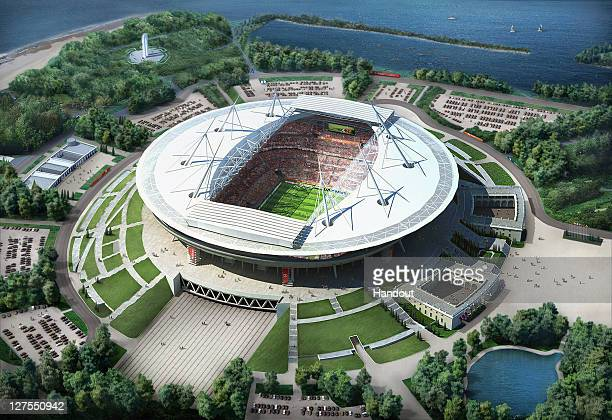 In this handout artists impression provided by the Russia 2018 Organising Commitee the St Petersberg Stadium is shown as proposed and presented as...