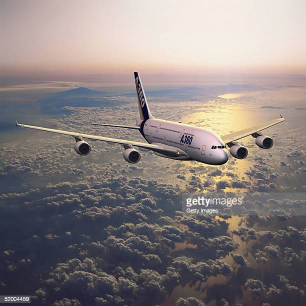 In this handout computer generated image of the world's first fulllength twindeck aircraft the Airbus A380 which will be officially revealed to the...