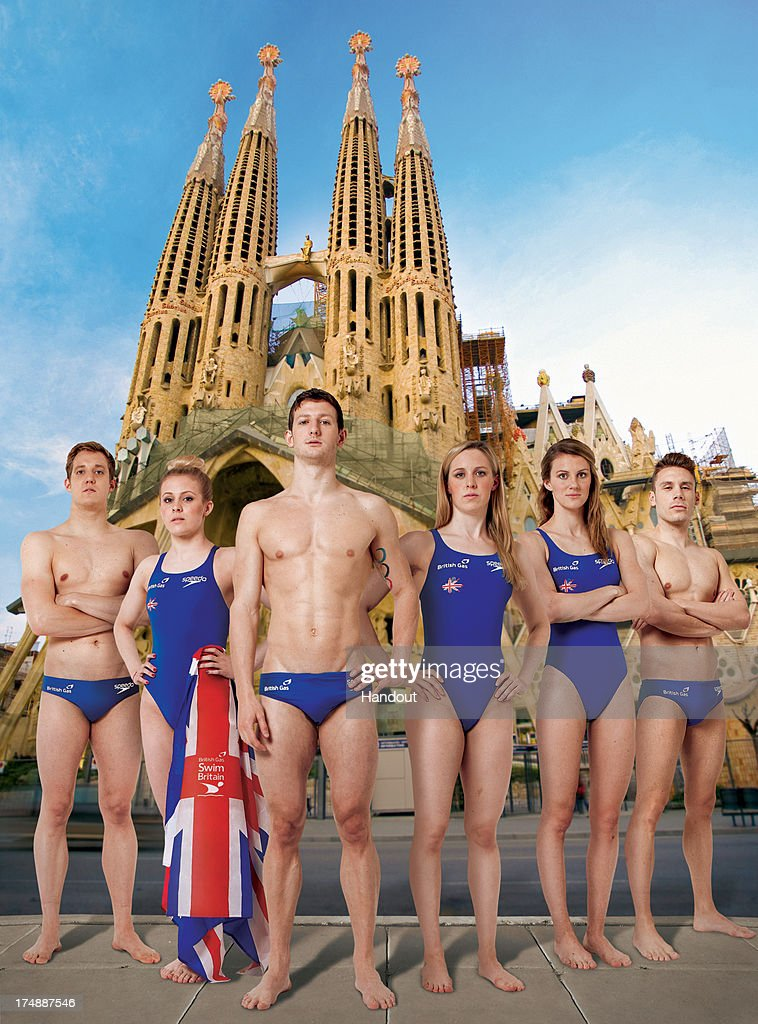 In this handout digital composite provided by British Gas, Swimmers from the British Gas Great Britain Swimming team at the FINA World Swimming Championships (L-R) Andrew Willis, Siobhan-Marie O'Connor, Michael Jamieson, Hannah Miley, Jazz Carlin and Dan Fogg pose in front of the Sagrada Familia in Barcelona ahead of British Gas SwimBritain, a series of 11 team relay challenges happening across the country from 31st August to 29th September. Find out more and sign up at swimbritain.co.uk/signup.