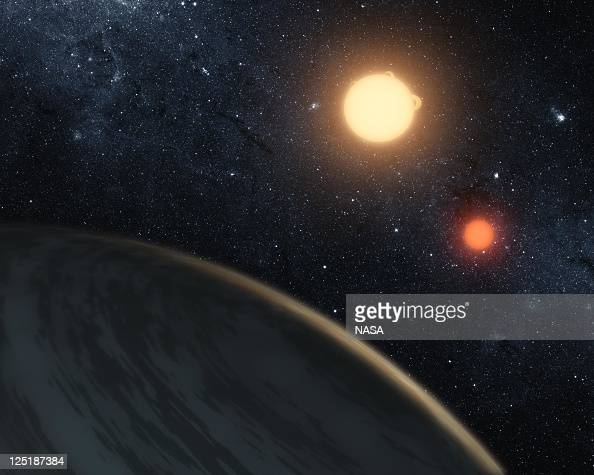 In this handout digital illustration released on September 15 2011 by NASA the newlydiscovered gaseous planet Kepler16b orbits it's two stars NASA's...