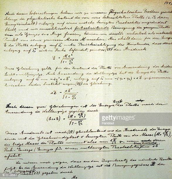 In this handout file photo provided by The Hebrew University of Jerusalem shows a page from Albert Einstein's General Theory of Relativity which is...