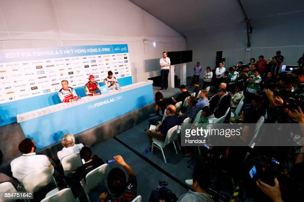 In this handout from FIA Formula E Felix Rosenqvist Mahindra Racing Mahindra M4Electro Daniel Abt Audi Sport ABT Schaeffler Audi etron FE04 and...
