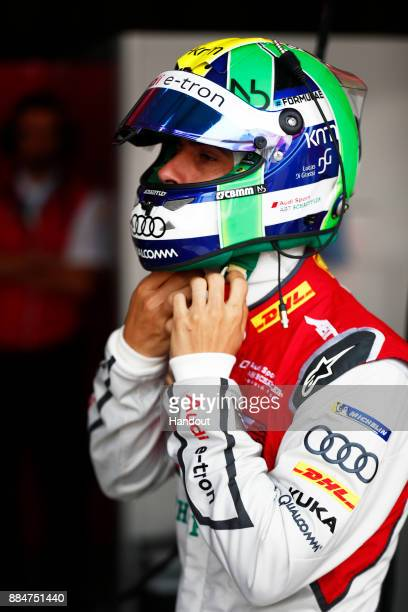 In this handout from FIA Formula E Lucas Di Grassi Audi Sport ABT Schaeffler Audi etron FE04 during the Hong Kong ePrix Round 2 of the 2017/18 FIA...