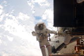 In this handout from NASA Astronaut John Grunsfeld STS125 mission specialist participates in the mission's third session of extravehicular activity...