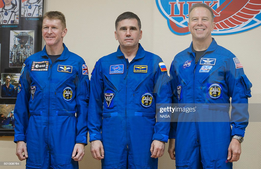 In this handout from NASA, (L to R) Expedition 46 Flight Engineer Tim Peake of the European Space Agency (ESA), Soyuz Commander <a gi-track='captionPersonalityLinkClicked' href=/galleries/search?phrase=Yuri+Malenchenko&family=editorial&specificpeople=198749 ng-click='$event.stopPropagation()'>Yuri Malenchenko</a> of the Russian Federal Space Agency (Roscosmos) and Flight Engineer Tim Kopra of NASA pose for at the end of a press conference held at the Cosmonaut Hotel, on December 14, 2015 in Baikonur, Kazakhstan. Soyuz TMA-19M is scheduled to launch on December 15 carrying crew members Soyuz Commander <a gi-track='captionPersonalityLinkClicked' href=/galleries/search?phrase=Yuri+Malenchenko&family=editorial&specificpeople=198749 ng-click='$event.stopPropagation()'>Yuri Malenchenko</a> of the Russian Federal Space Agency (Roscosmos), Flight Engineer Tim Kopra of NASA, and Flight Engineer Tim Peake of ESA (European Space Agency) to the International Space Station for a six-month mission, as part of Expedition 46-47.