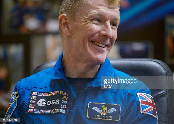 In this handout from NASA Expedition 46 Flight Engineer Tim Peake of ESA is seen during a press conference held at the Cosmonaut Hotel on December 14...