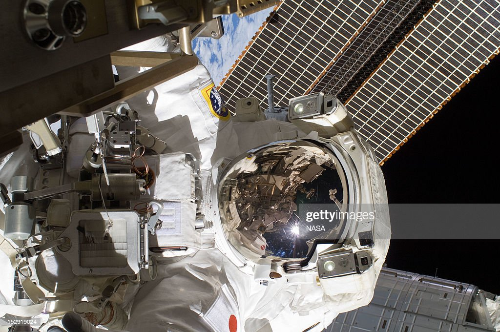 In this handout from NASA, Japan Aerospace Exploration Agency astronaut Aki Hoshide, Expedition 32 flight engineer, participates in the mission's third session of extravehicular activity (EVA outside the International Space Station September 5, 2012 in Space.