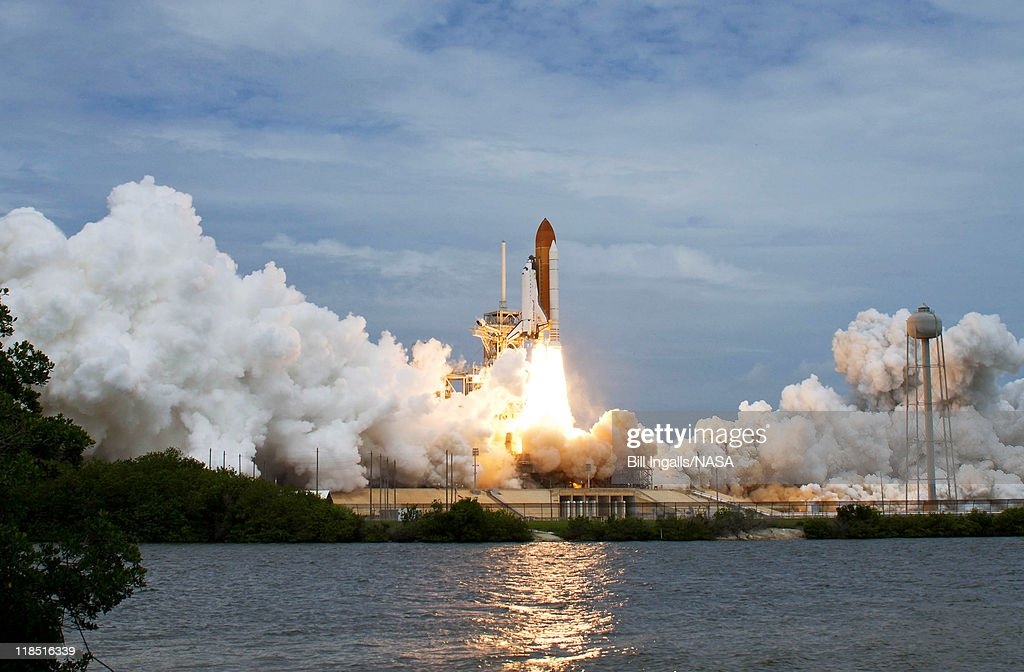 in this handout from NASA Space shuttle Atlantis blasts off from launch pad 39A at Kennedy Space Centern July 8 2011 in Cape Canaveral Florida This...