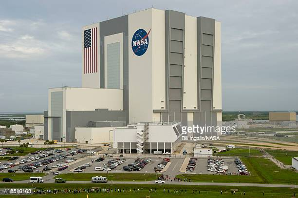 In this handout from NASA the Astrovan carrying the space shuttle Atlantis crew Chris Furgeson commander Doug Hurley pilot and mission specialists...