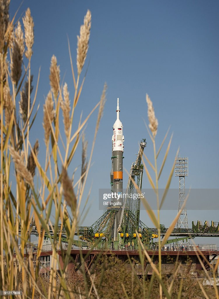 In this handout from NASA the Soyuz rocket is seen shortly after arrival to the launch pad at the Baikonur Cosmodrome September 28 2009 in Baikonur...