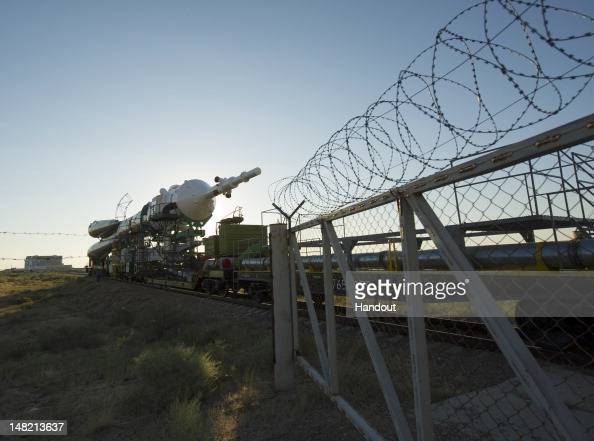 In this handout from NASA The Soyuz TMA05M spacecraft is rolled out by train to the launch pad at the Baikonur Cosmodrome July 12 2012 in Kazakhstan...
