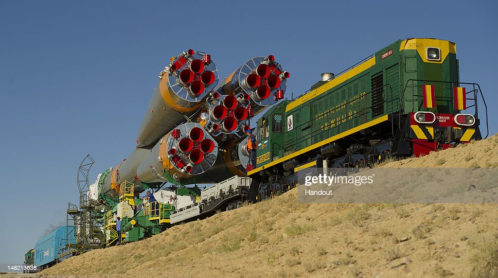 In this handout from NASA, The Soyuz TMA-05M spacecraft is rolled out by train to the launch pad at the Baikonur Cosmodrome July 12, 2012 in Kazakhstan. The Soyuz spacecraft is scheduled to launch July 15, to the International Space Station with Soyuz Commander Yuri Malenchenko of the Russian Federal Space Agency, NASA Flight Engineer Sunita Williams and Japan Aerospace Exploration Agency (JAXA) Flight Engineer Akihiko Hoshide onboard.