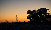 In this handout from NASA The Soyuz TMA19M spacecraft is rolled out by train to the launch pad at the Baikonur Cosmodrome on December 13 2015 in...