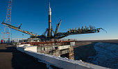 In this handout from NASA The Soyuz TMA19M spacecraft is seen after being raised into a vertical position on the launch pad at the Baikonur...