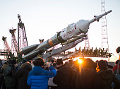 In this handout from NASA The Soyuz TMA19M spacecraft is seen as it is raised into a vertical position on the launch pad at the Baikonur Cosmodrome...