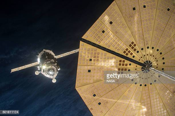 In this handout from NASA the Soyuz TMA19M spacecraft manually docks with the Internatoinal Space Station December 15 2015 in space Soyuz TMA19M is...