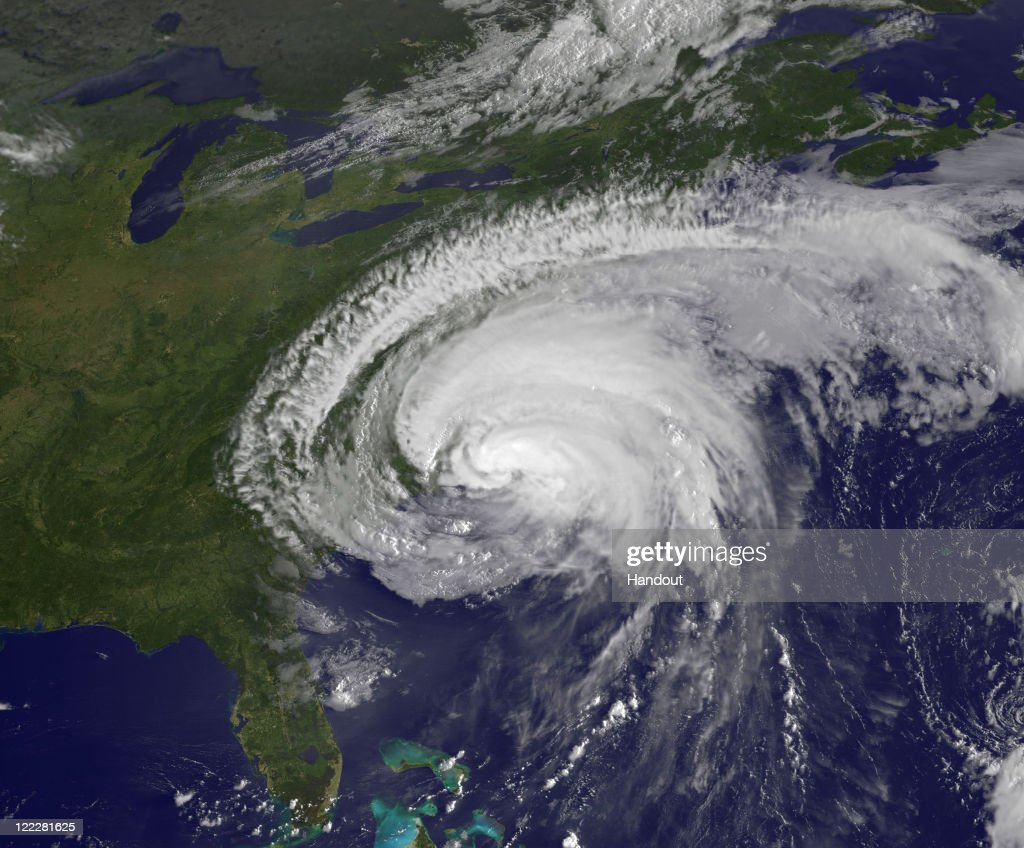 In this handout from NASA/NOAA GOES Project taken at 7:40 am EST, Hurricane Irene is seen on the coast of North Carolina August 27, 2011 in the Atlantic Ocean. Irene, now a Category 1 storm with sustained winds of 85 miles per hour, is making its was up the eastern coast of the U.S.