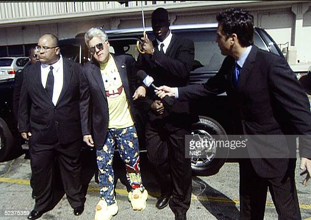 In this handout from NBC Jay Leno arrives to the studio to film 'Tonight Show' on March 10 2005 Leno is wearing Sponge Bob Square Pants pajamas bunny...