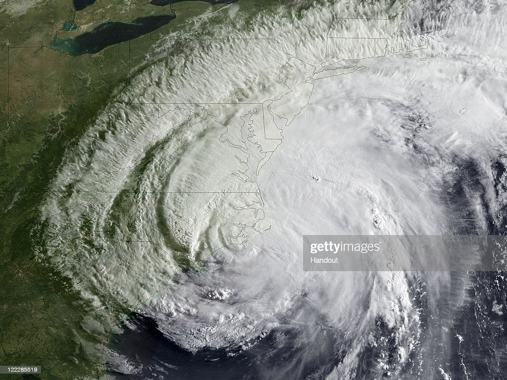 In this handout from NOAA, Hurricane Irene is seen on the coast of North Carolina August 27, 2011 in the Atlantic Ocean. Irene, now a Category 1 storm with sustained winds of 85 miles per hour, is making its was up the eastern coast of the U.S.