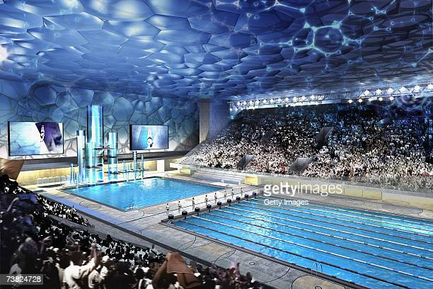 In this handout from the Beijing Organizing Committee for the Games of the XXIX Olympiad An artist impression of the National Aquatics Center in...